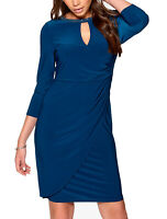 CLEARANCE Ladies UK Size 8 - 18 Blue Wrap Sparkly Stretchy Evening Dress