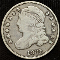 1834 Capped Bust Dime, Fine Condition, Early Silver Dime, Free Shipping, C4399
