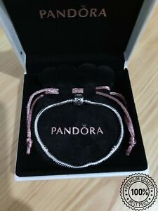 Pandora Chram Bracelet 925 Sterling Silver Plated With Box Moment Sneak Chain
