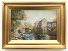 Scottish Victorian Landscape Gouache Painting Dripps Mill White Cart Water