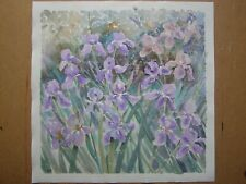 ORIGINAL OIL ACRYLIC PAINTING IRIS FLOWERS IRISES ART BY ARTIST