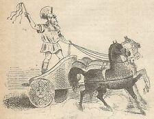 A4472 Carro a due ruote degli antichi Romani_Incisione - Stampa Antica del 1887