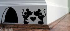 Mouse Love Heart Hole Wall Art Sticker Vinyl Decal Mice Home Skirting Board Fun2