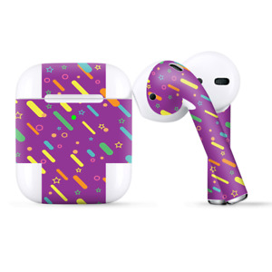 Skins Wraps compatible for Apple Airpods  Purple Girly Sprinkles Cupcake