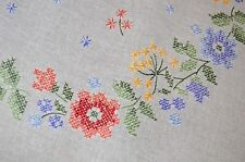 SPRING FLORAL RAINBOW ODYSSEY! VTG GERMAN HAND EMBROIDERED TABLECLOTH WREATH