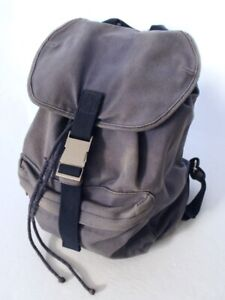 A.P.C. Mens Cotton Canvas Backpack w/ Padded Back & Buckle Closure Navy Bag