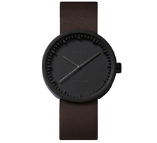 NEW LEFF AMSTERDAM TUBE WATCH D38 WITH BROWN LEATHER STRAP ANALOG DISPLAY BLACK