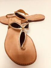 Lilly Pulitzer Thong  Black/ Gold  Leather Sandal Size 6