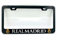 """REAL MADRID"" Black License Plate Frame, Custom Made of Powder Coated Metal"