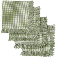 NEW Sage Homespun Check Cotton Napkins Fringed Cotton Green Napkins Set of 4