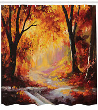 Painting of Forest with Fall Leaves Season Theme ArtPrint Shower Curtain Set