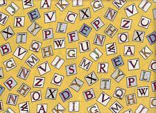 Michael Miller Hada de las flores Tejido - Alfabeto Letras soleado 100% Algodón