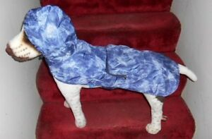 BLUE DENIM LOOK:  DOG RAIN JACKET HOODIE IN A POUC POUCH  (Small to Large Pets)