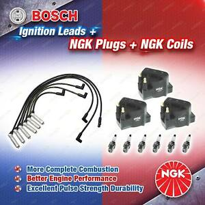 NGK Spark Plugs Coils + Bosch Leads Kit for Holden Commodore VY L67 3.8 V6 171kW