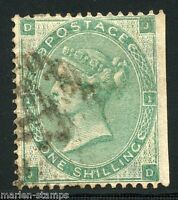 GREAT BRITAIN  ONE SHILLING GREEN  SCOTT#42  USED LOT VII