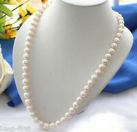 Real 7-8MM Natural White Freshwater Cultured Pearl Necklace 18'' AAA