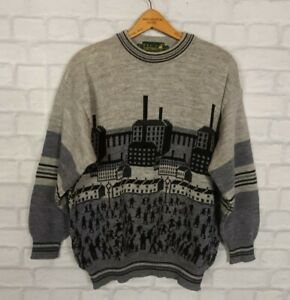VINTAGE RETRO 90S BOLD CRAZY WOOL COSBY 80s KNITTED JUMPER SWEATSHIRT FESTIVAL