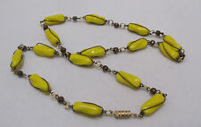 """Edgy Vintage 26.5"""" Necklace Neon Acid Yellow Beads Copper Wire Wrap"""