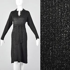 Large 1970s Black Lurex Dress Vintage Disco Dress 70s Black Knit VTG Long Sleeve