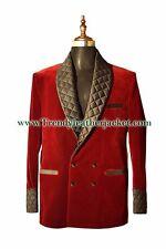 Men Elegant Luxury Stylish Designer Maroon quilted lapel Smoking Jacket Blazers