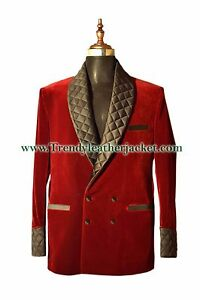 Men Maroon Quilted Lapel Smoking Jackets Designer Dinner Party Wear Blazers Coat
