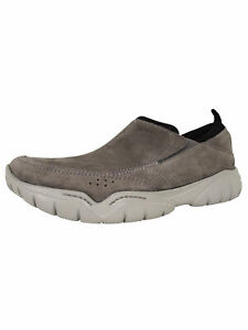 Crocs Mens Swiftwater Suede Moc Toe Loafer Shoes, Charcoal/Smoke, US 7