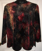 N Touch Kaleidoscope Wearable Art Long Sleeve Velour Tunic Top Blouse Sz 2X EUC