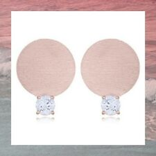 rose gold plated disc stud earrings genuine 925 sterling Silver cubic zirconia
