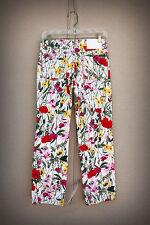 LOUIS FERAUD Size 2/3/4 (36 France) Wide Metallic Stitch Bright Flowers Pants