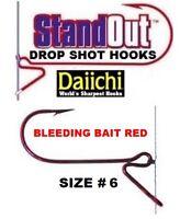 Daiichi StandOut Drop Shot Fishing Hooks ST8ZS Bleeding Bait Red Size 6 Panfish
