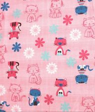 SNUGGLE FLANNEL* KITTY CAT & FLOWERS on PINK PLAID* 100% Cotton Fabric BTY