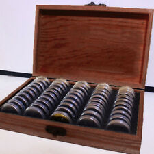 Wood Coins Display Storage Box Collectible Case for Certified Coin + Capsules