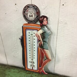 Route 66 Pinup Girl Vintage Style Metal Thermometer Sign Bar Man Cave Garage