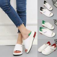 Women Flat Wedge Faux Leather Sandal Peep Toe Summer Platform Shoes.New New