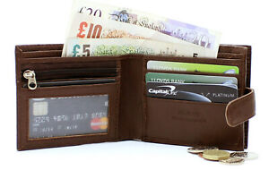 Mens RFID Safe Blocking Leather Wallet Zip Coin Pocket Pouch ID Window 42 Brown