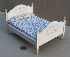 1:12 Scale Natural Finish Double Bed Dolls House Miniature Bedroom Accessory 068