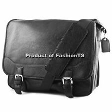 Classic Vintage Mens Faux Leather Messenger Shoulder Bag Notebook Laptop Case