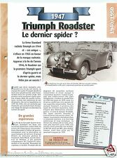 Triumph Roadster Spider Sport 4 Cyl. 1947 England UK Car Auto Retro FICHE FRANCE