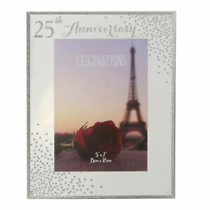25th Anniversary Photo Frame - Mirror Glass - Sparkle / Glitter Detail