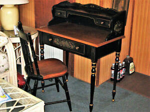 Vintage Ethan Allen Ebony Ladies Writing Desk - Hitchcock Styled with Senciling
