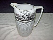 A Lovely Old 30's Grimwades Pottery Large Black White & Gilt Pheasant Print Jug