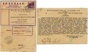 NETHERLANDS INDIES NEI STATIONERY LETTERCARD +MESSAGE 1938 SHIP POSTMARK to JAVA