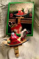 Vintage 1984- HALLMARK ROCKING HORSE STOCKING HANGER-Mantle-Christmas Decor-Box