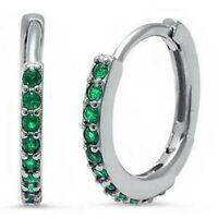 Emerald Hoop Earrings in Solid Sterling Silver -  MAY BIRTHSTONE
