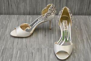 Badgley Mischka Celeste Embellished Satin d'Orsay Pumps, Women's Size 6, White