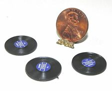 Dollhouse Miniature Record Album Set 3 Blue Label Minis 1:12 Scale