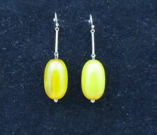 Pair Of Antique 9ct Gold And Natural Amber Earrings.