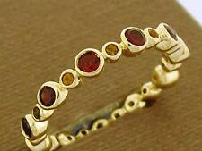 R256 GENUINE 9K Gold Natural Garnet & Citrine Full Eternity Ring Stackable sz M