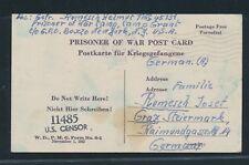 K1718) Kriegsgefangenenpost USA card Camp Grant Illinois > Graz Ostmark 27.6.44