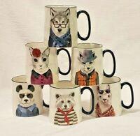 Dapper Animal Hipster 14 Oz Coffee Mugs Signature Stoneware Set of 6 EUC